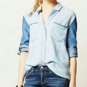 Anthropologie Cloth & Stone Two Tone Chambray Top